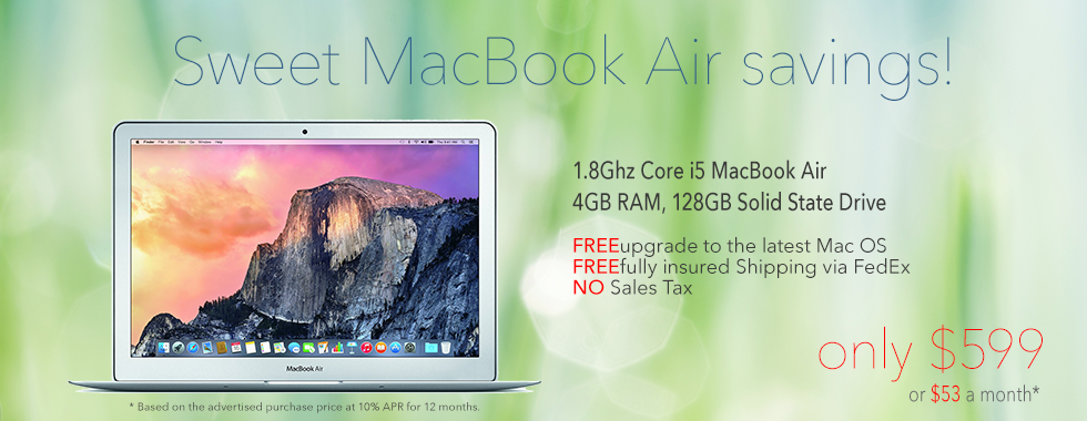 13 inch MacBook AIR for only $599 shipped! Or pay only $53 a month!