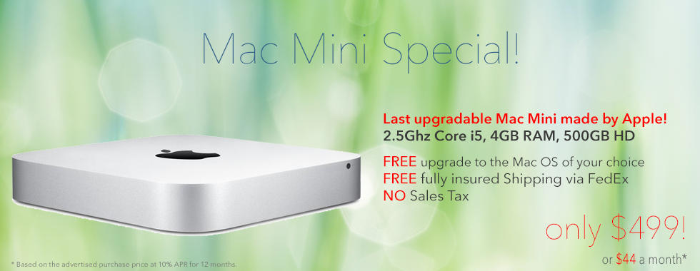 2.5Ghz Core i5 Mac Mini shipped for only $499 or $44 a month!