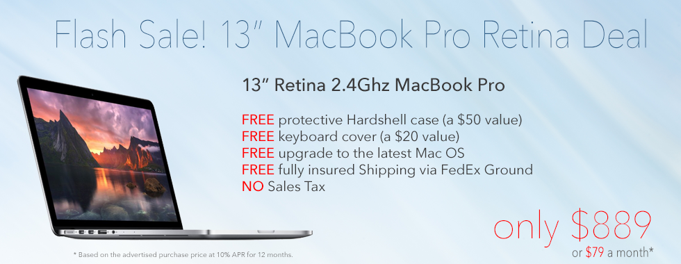 13 inch Retina MacBook Pro with FREE case for only $889 shipped! Or pay only $79 a month!
