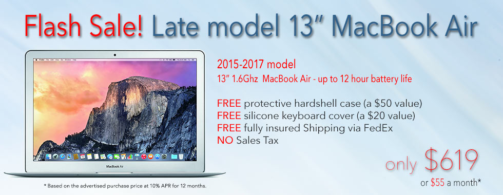 Flash Sale! 13 inch 1.6Ghz Macbook Air with free case for only $619 shipped! Or pay only $55 a month