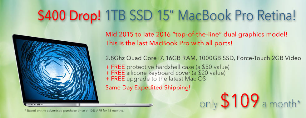 $400 Price Drop! Fully Loaded, late model top-of-the-line 15 inch 2.8Ghz Quad i7 Macbook Pro with free case for only $91 a month via easy instant financing