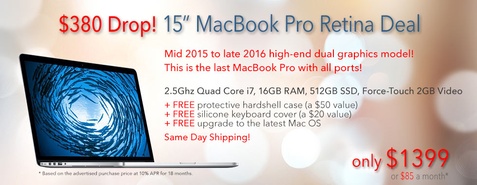 $380 Price Drop! Fully Loaded, late model 15 inch 2.5Ghz Quad i7 Macbook Pro with free case for only $1399 shipped! Or pay only $85 a month
