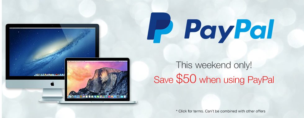$50 savings just for using PayPal! This weekend only!