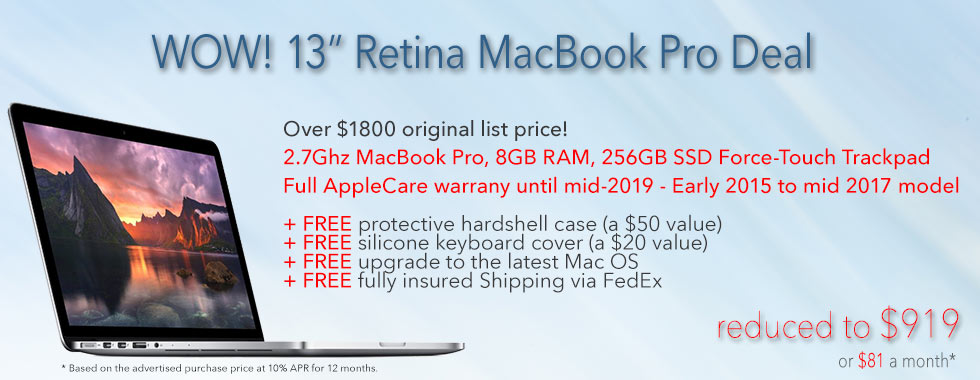13 inch Retina MacBook Pro with 256GB SSD, full AppleCare warranty until mid 2019 and FREE Case for only $929 shipped! Or pay only $82 a month