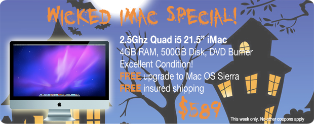 Scary Halloween Savings.iMac 2.5Ghz 21.5 inch Quad i5 for only $589 shipped!