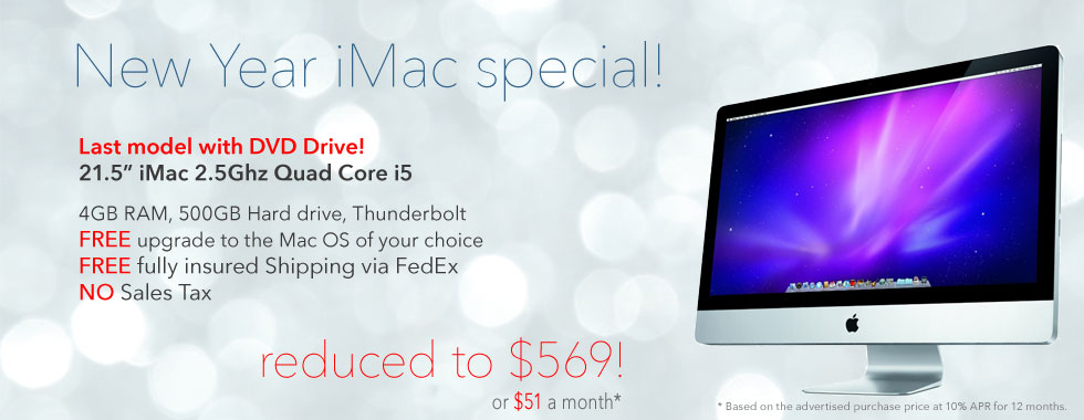 Limited Supply! 2.5Ghz 21.5 inch 2.5Ghz Quad Core i5 iMac for only $569 shipped!