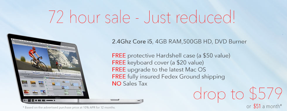 72 Hour Sale! 2.4Ghz 13 inch Macbook Pro Special with Case reduced to only $579 shipped. Or pay just $51 a month!