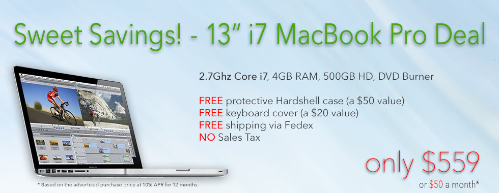 Special Sale! 13inch Core i7 MacBook Pro for only $559 shipped! Or pay only $50 a month