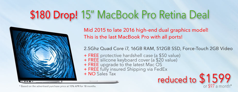 $180 off Fully Loaded, late model 15 inch 2.5Ghz Quad i7 Macbook Pro with free case for only $1599 shipped! Or pay only $97 a month