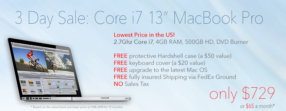 2.7Ghz 13 inch Macbook Pro Core i7 Special with Case from only $729 shipped! Or pay only $65 a month!