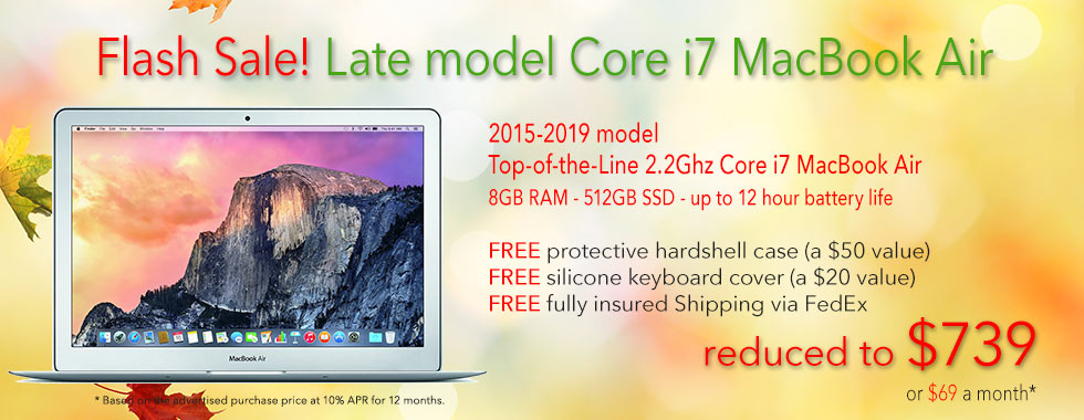 $130 Price Drop - High-end, late model Core i7 MacBook Airs with free case for only $739 shipped! Or pay only $69 a month