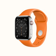 Apple Watch Hermès Series 4 w. AppleCare+ , 44mm Stainless Steel w. Orange Sport Band