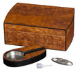 Matte Walnut Finish Humidor Gift Set - Holds Up To 25 Cigars