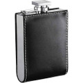 Wallet Hip Flask Black Leather Wrapped - 6 oz.