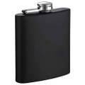 Stainless Steel Hip Flask w/ Black Rubberized Coating - 6 oz.
