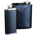Dual Hip Flask Black Leather Wrapped - 3 oz. x 2