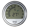 Modern Digital Hygrometer Thermometer Round Silver