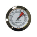 Analog Round Hygrometer Silver Finish Glass Front