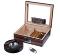 Adrian Glass Top Gift Set Humidor - Holds Up To 35 Cigars