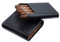 Carrying Case Leather Finish Cedar Lined 5 Cigar Black