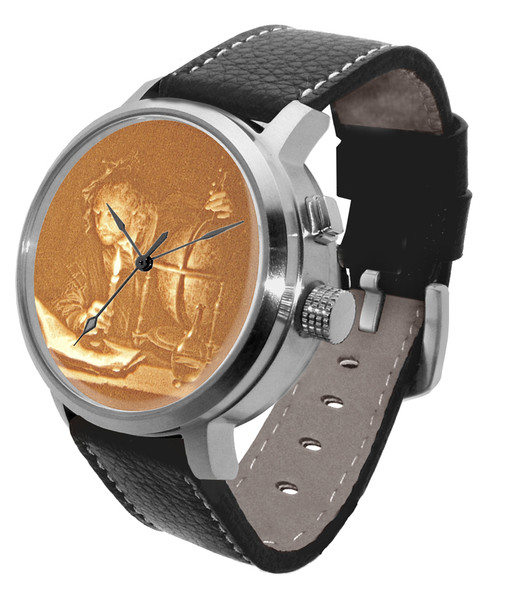 Watch with LED back-light activated for 3-D image