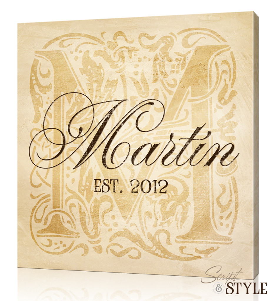 Personalized Monogram Canvas Art, Tan