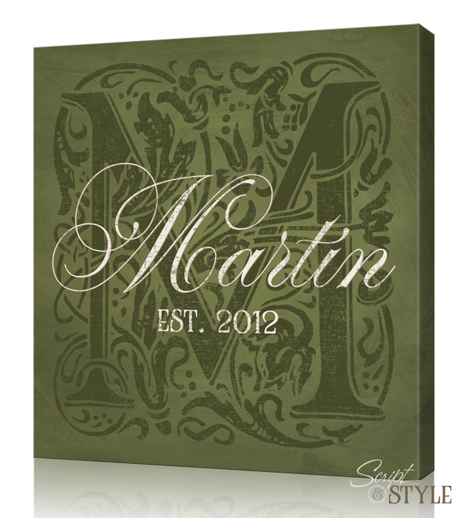 Personalized Monogram Canvas Art, Sage