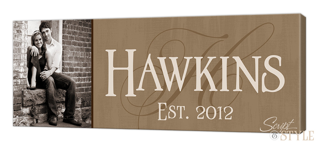 Personalized canvas wall art with photo, Tan