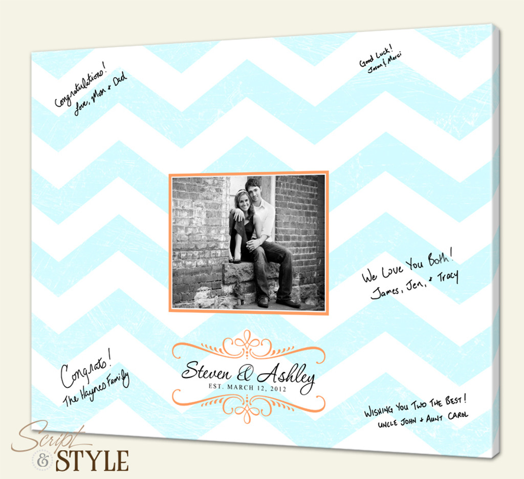 Wedding Guest Book Canvas, Chevron Stripes=Light Blue, Light Orange Accents
