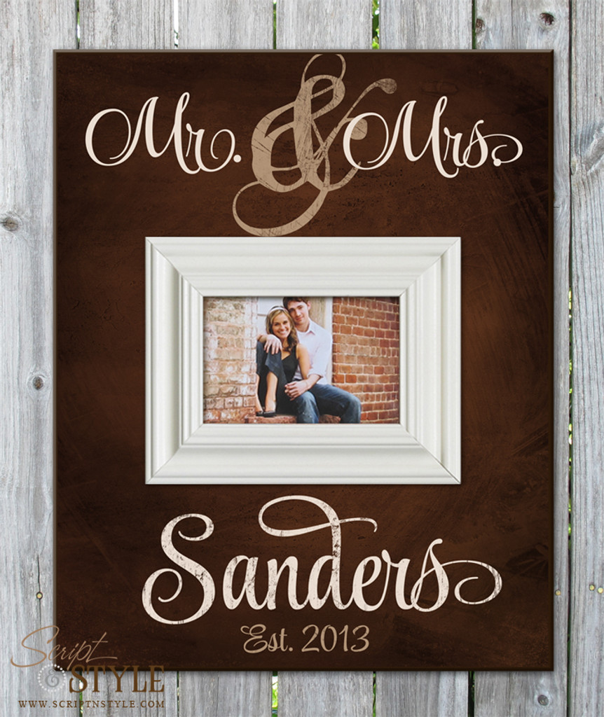Personalized Mr. & Mrs. picture frame, Brown