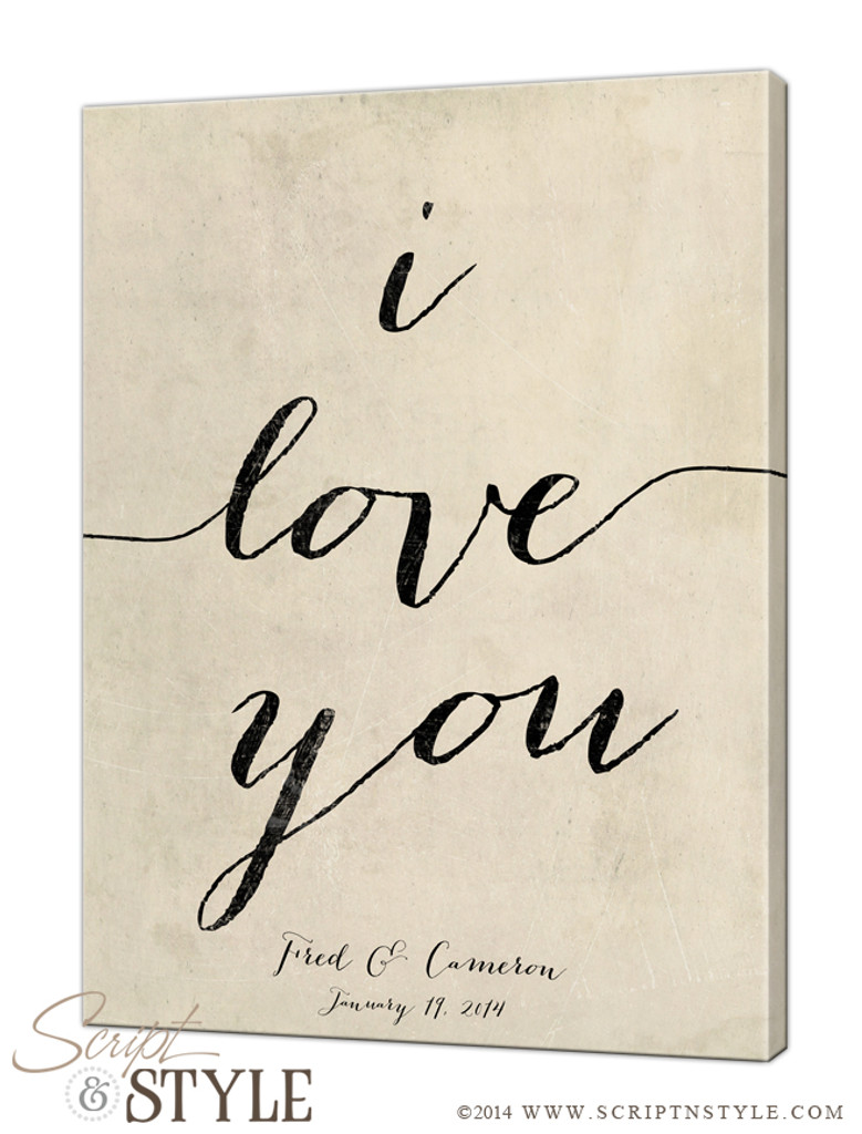 Personalized i love you canvas/Cream-Black