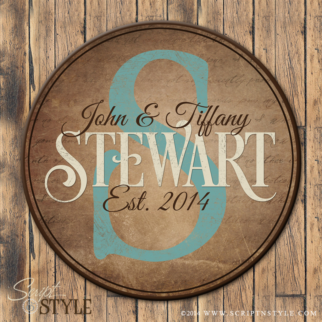 Round personalized family established sign/Turquoise