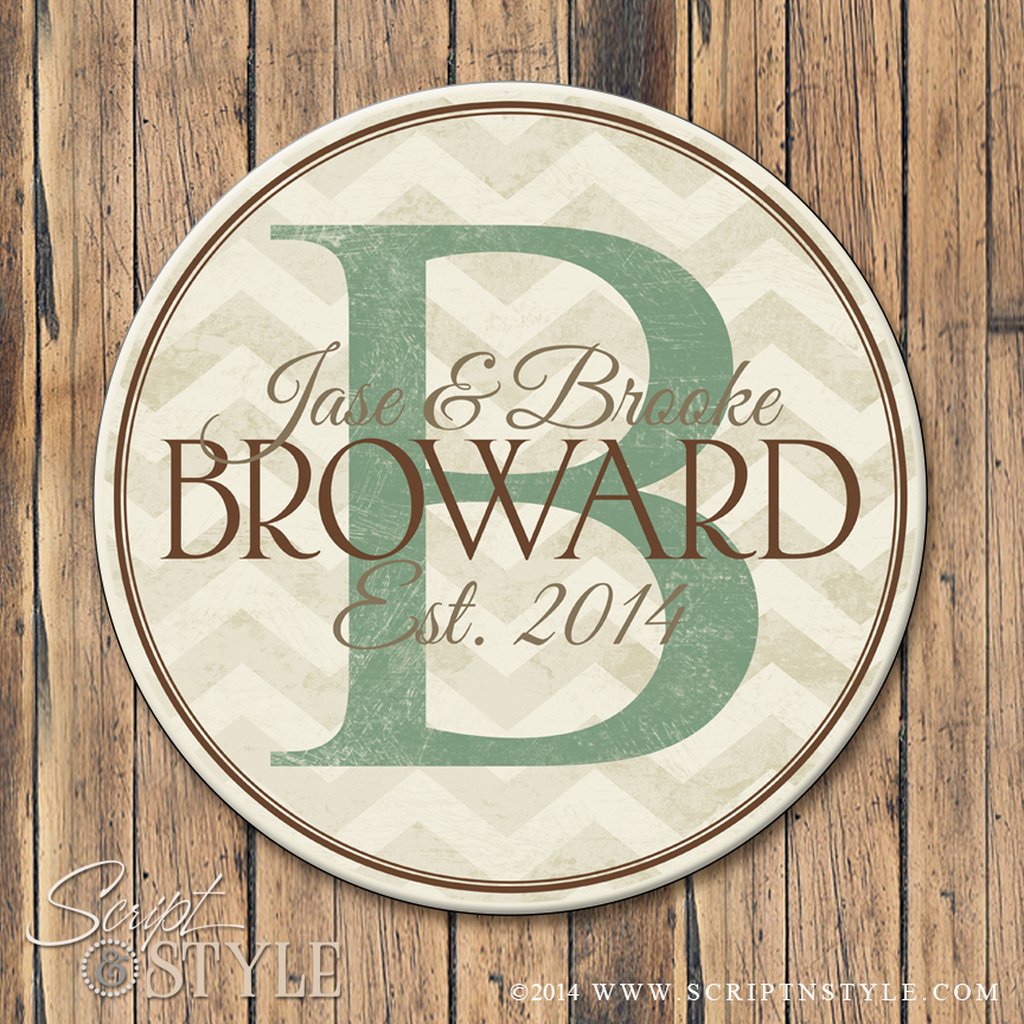 Chevron family name sign/Cream-Sage Green