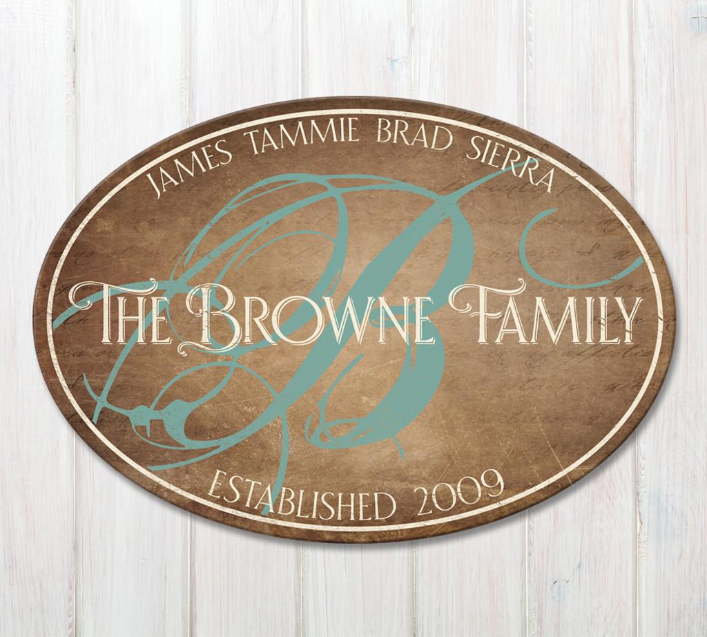 family established wood plaque