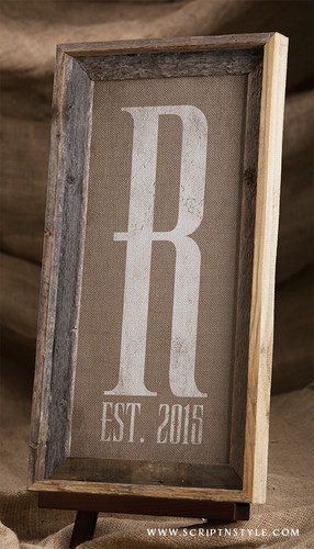 burlap monogram established sign