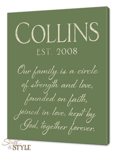 Personalized canvas wall art with scripture, Sage/Cream