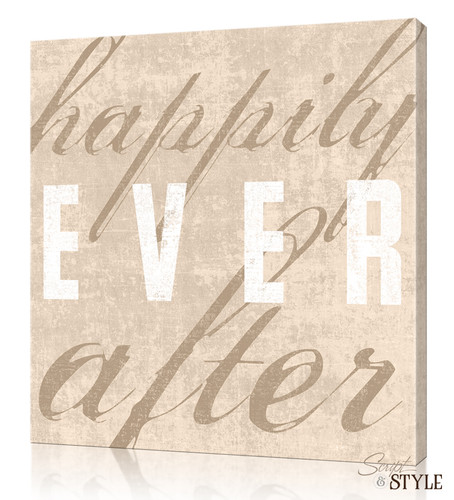 Personalized Happily Ever After Canvas Wall Art, Tan