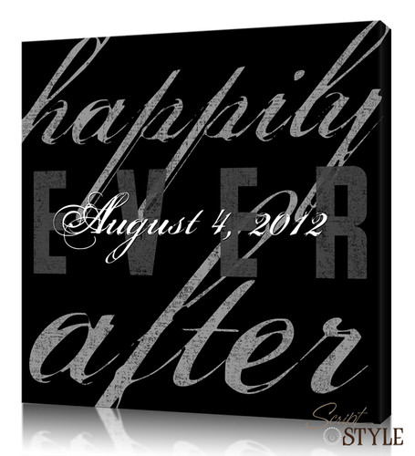 Personalized Happily Ever After Canvas Wall Art, Black