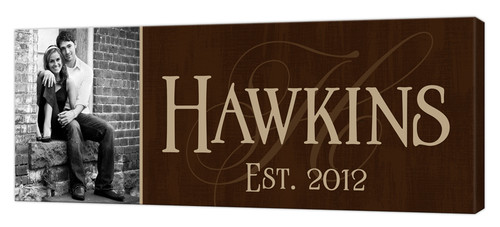 Personalized canvas wall art with photo, Brown