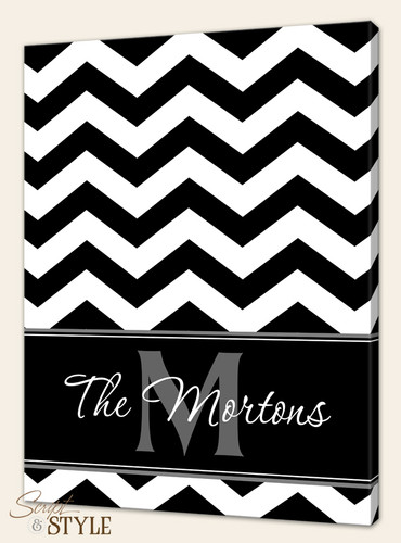 Personalized chevron canvas art, Black