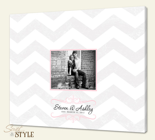 Wedding Guest Book Canvas, Chevron Stripes=Light Gray, Pink Accents