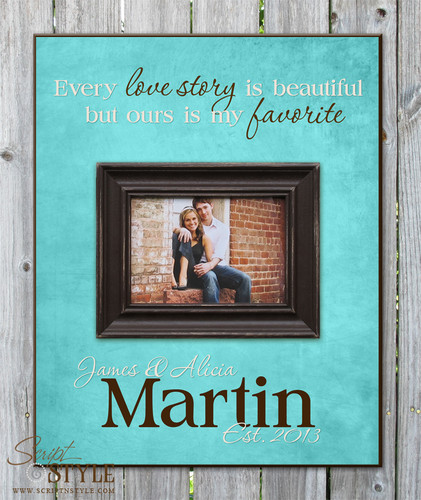 Personalized picture frame with quote, Aqua