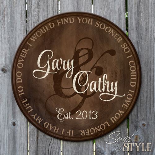Personalized wood family established sign/Brown