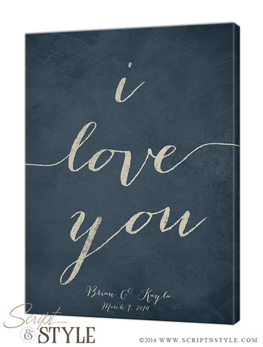 Personalized i love you canvas/Slate Blue-Cream