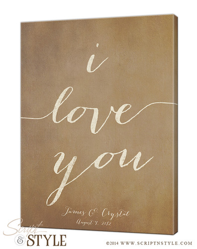 Personalized i love you canvas/Tan-Cream