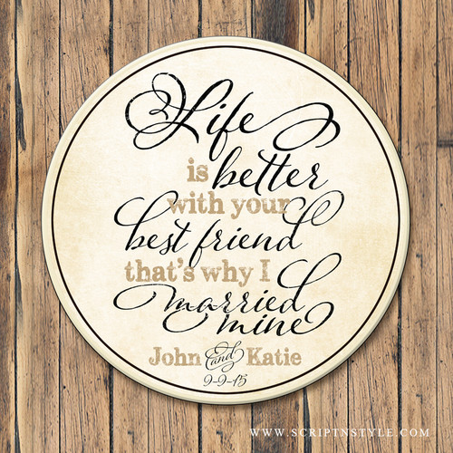 Wood Family Name Quote Sign - Best Friends