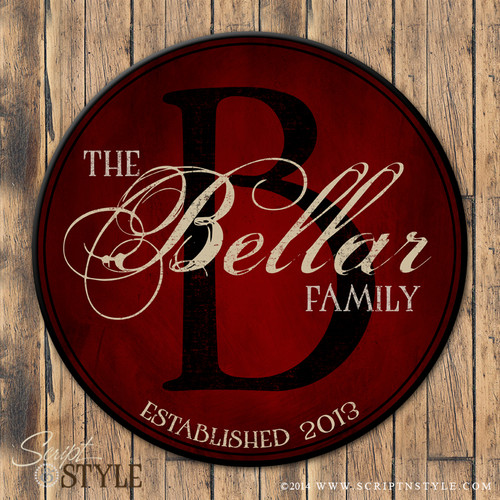 Personalized Wood Family Established Sign