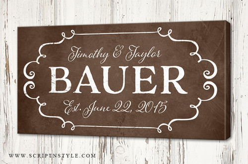 Personalized Family Established Canvas Sign
