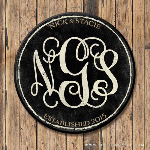 Wood Family Monogram Sign