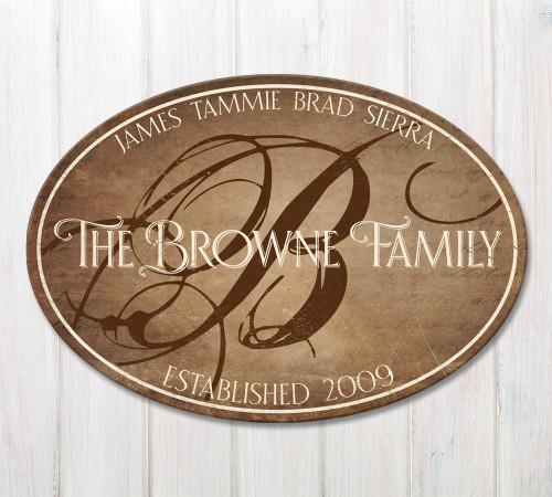 oval wood family established sign